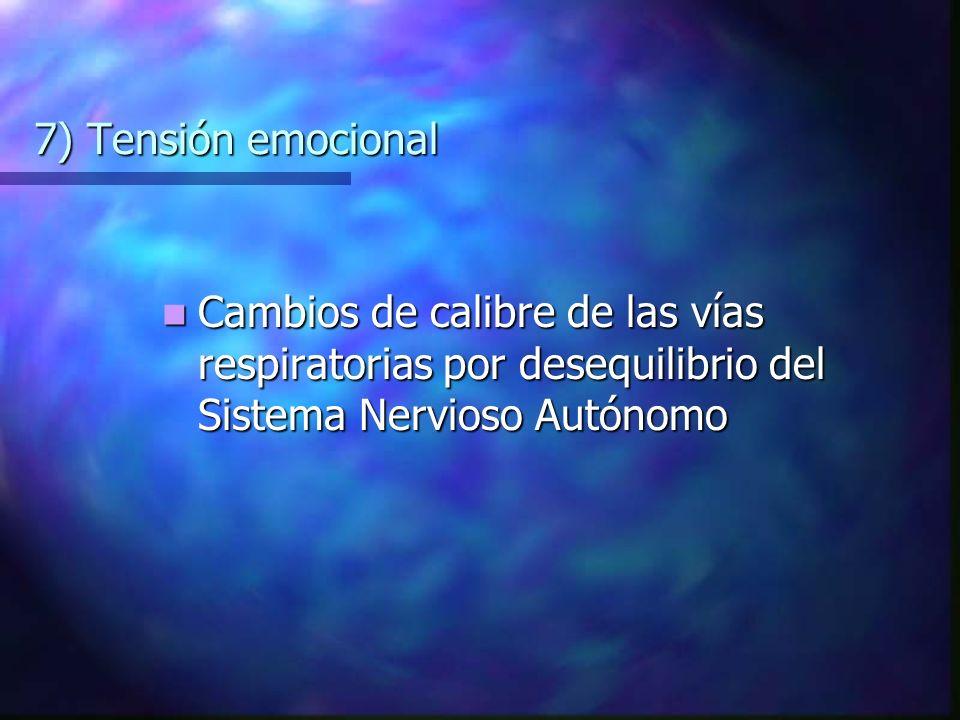 7) Tensión emocional Cambios de calibre de las vías respiratorias por desequilibrio del Sistema Nervioso Autónomo.