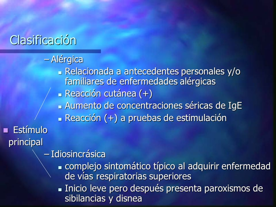 Clasificación Alérgica