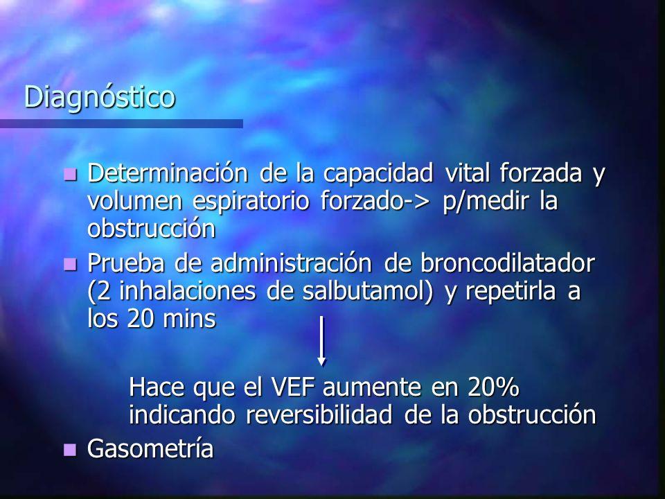 Diagnóstico Determinación de la capacidad vital forzada y volumen espiratorio forzado-> p/medir la obstrucción.