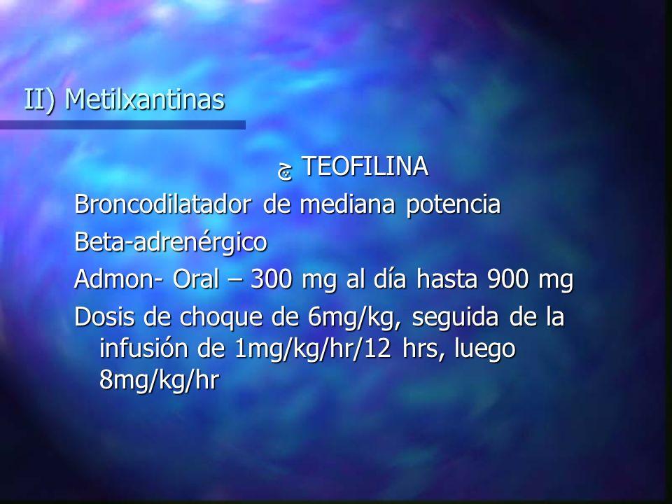 II) Metilxantinas چ TEOFILINA Broncodilatador de mediana potencia