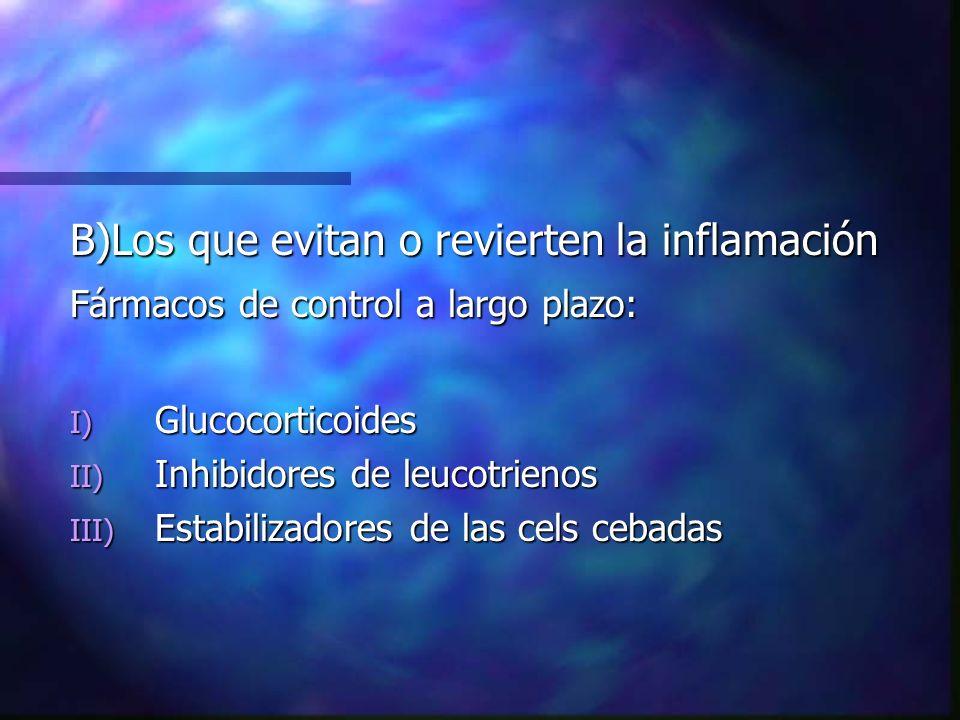B)Los que evitan o revierten la inflamación