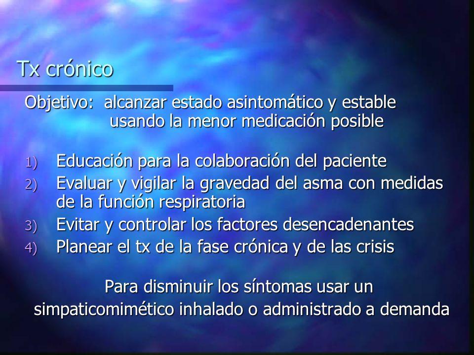 Tx crónico Objetivo: alcanzar estado asintomático y estable usando la menor medicación posible.