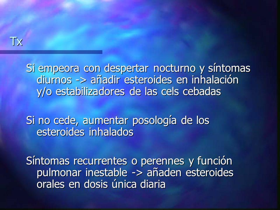 Tx Si empeora con despertar nocturno y síntomas diurnos -> añadir esteroides en inhalación y/o estabilizadores de las cels cebadas.