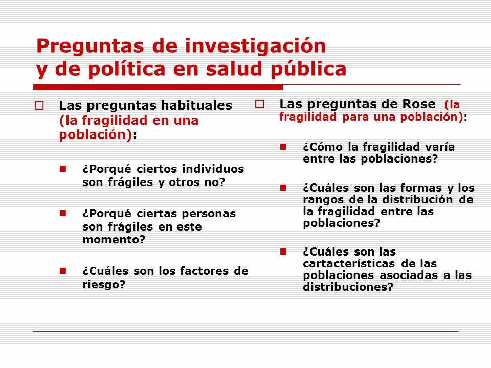 Preguntas de investigación y de política en salud pública