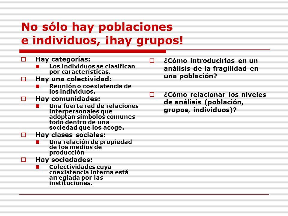No sólo hay poblaciones e individuos, ¡hay grupos!