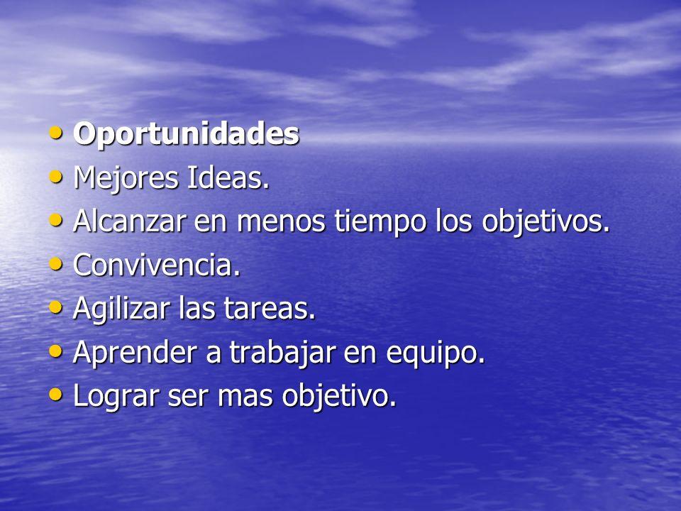 Oportunidades Mejores Ideas. Alcanzar en menos tiempo los objetivos. Convivencia. Agilizar las tareas.