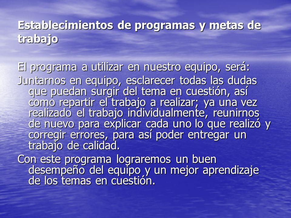 Establecimientos de programas y metas de trabajo