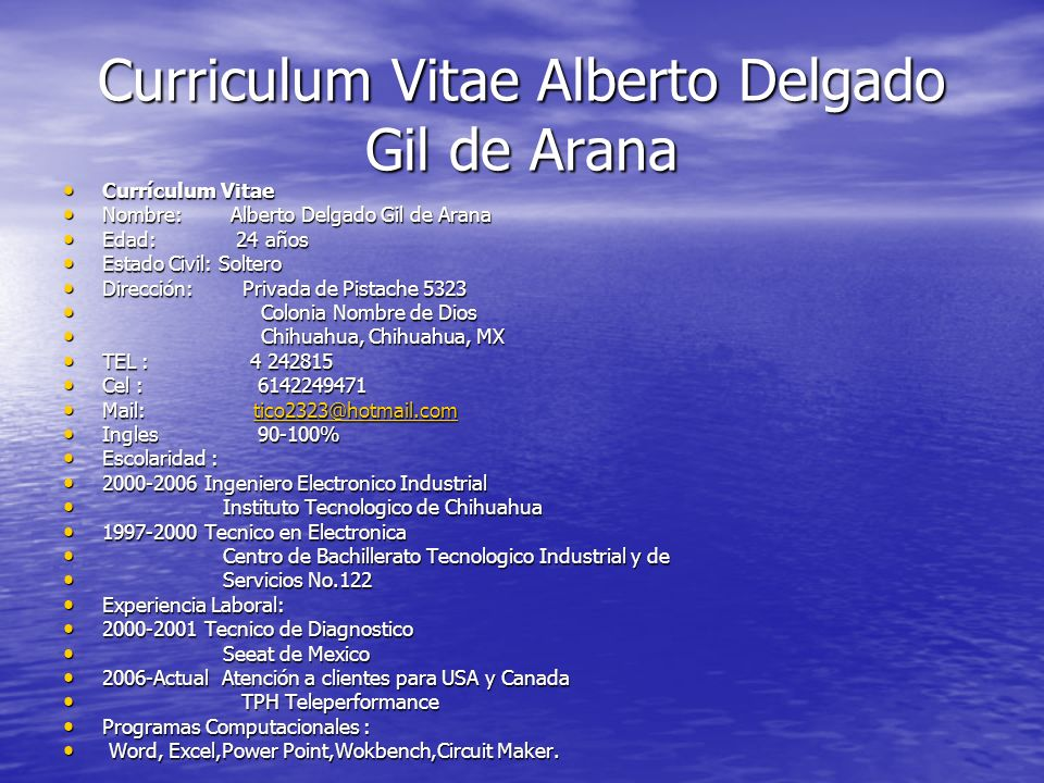 Curriculum Vitae Alberto Delgado Gil de Arana