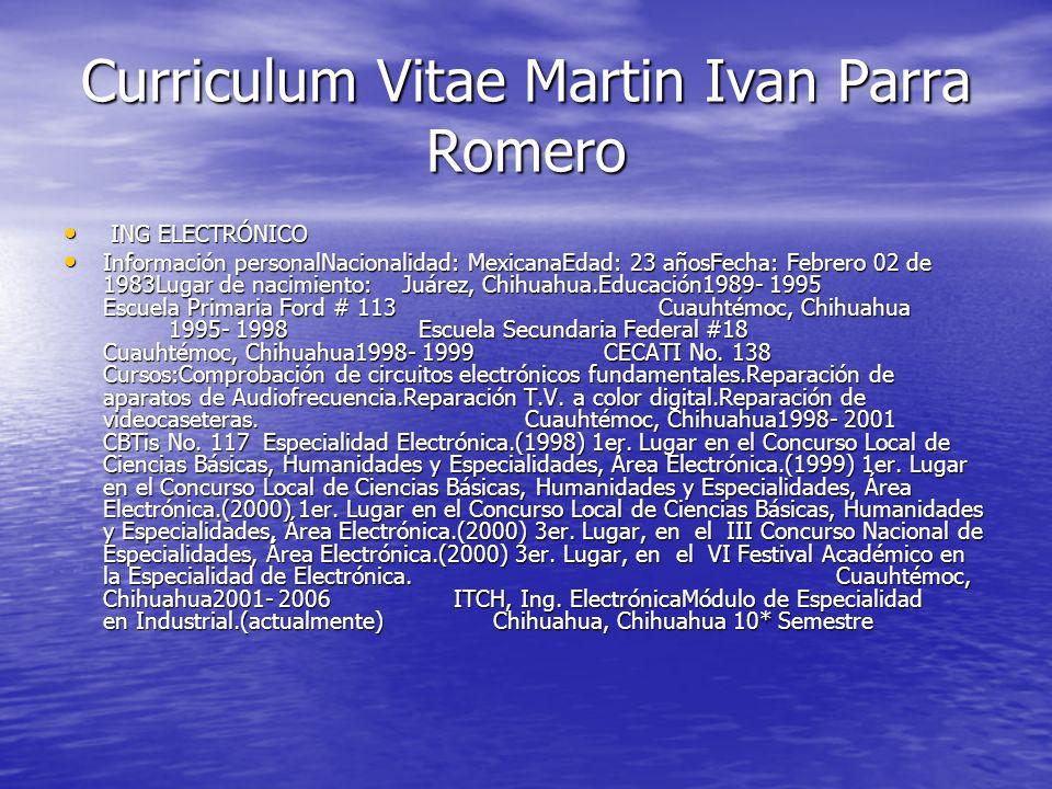 Curriculum Vitae Martin Ivan Parra Romero