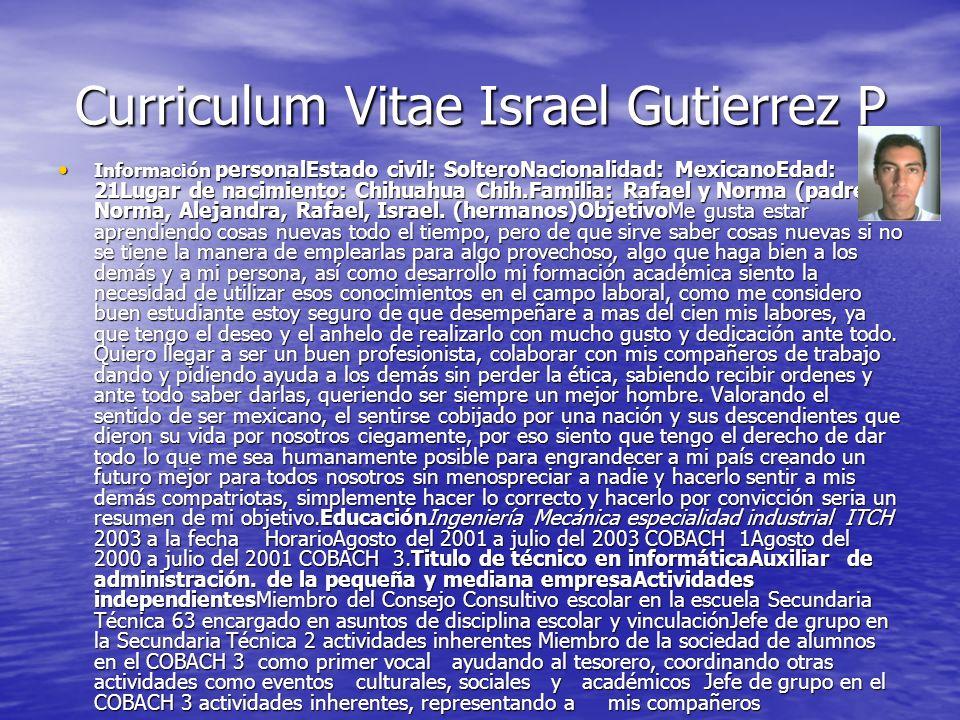 Curriculum Vitae Israel Gutierrez P