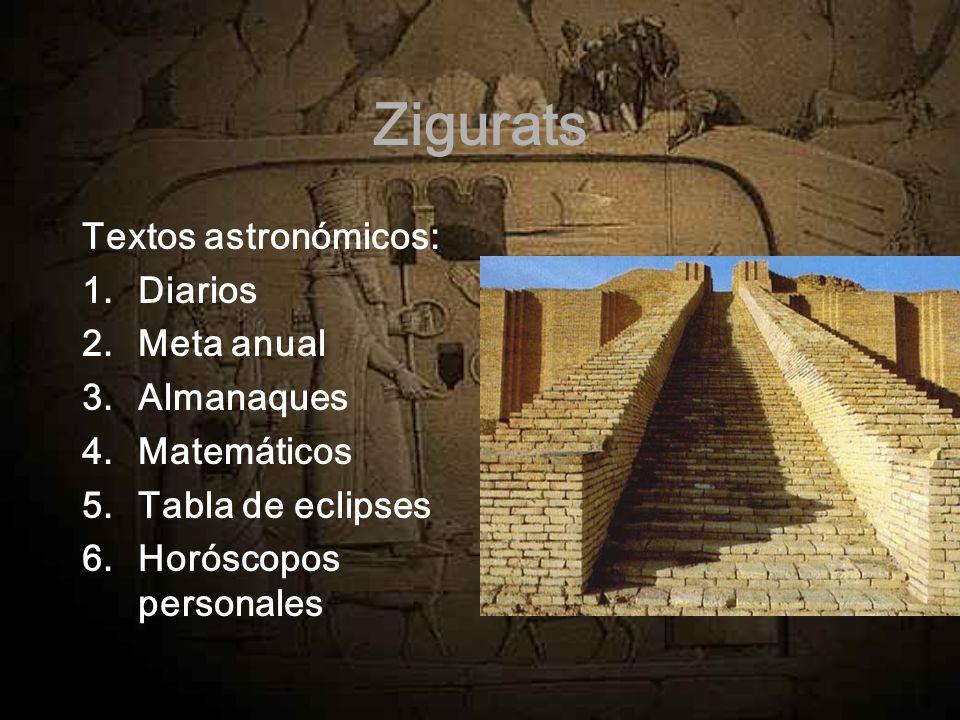 Zigurats Textos astronómicos: Diarios Meta anual Almanaques