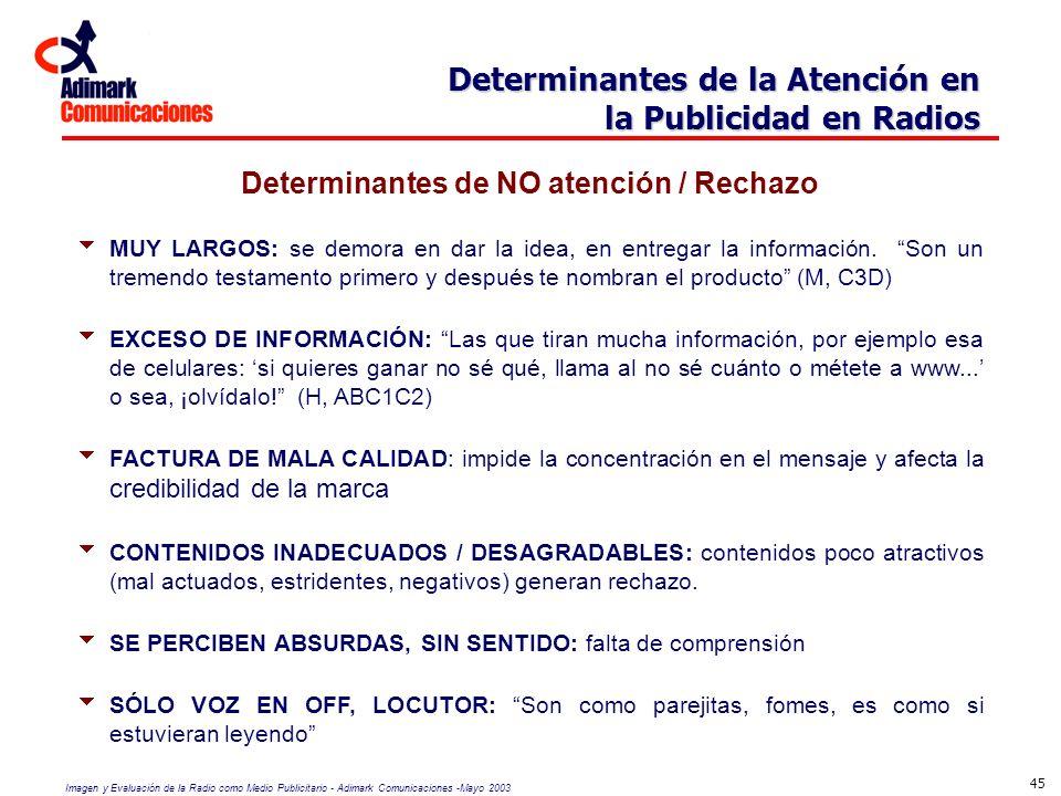 Determinantes de NO atención / Rechazo