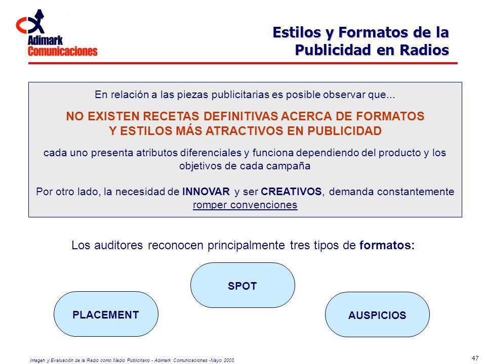 NO EXISTEN RECETAS DEFINITIVAS ACERCA DE FORMATOS