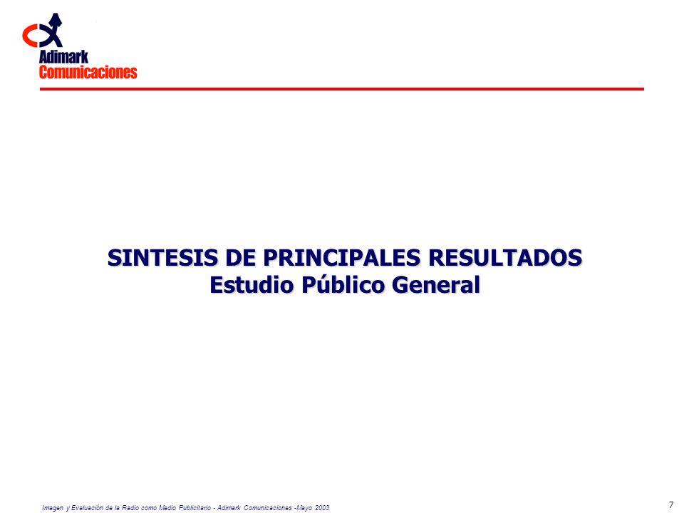 SINTESIS DE PRINCIPALES RESULTADOS Estudio Público General