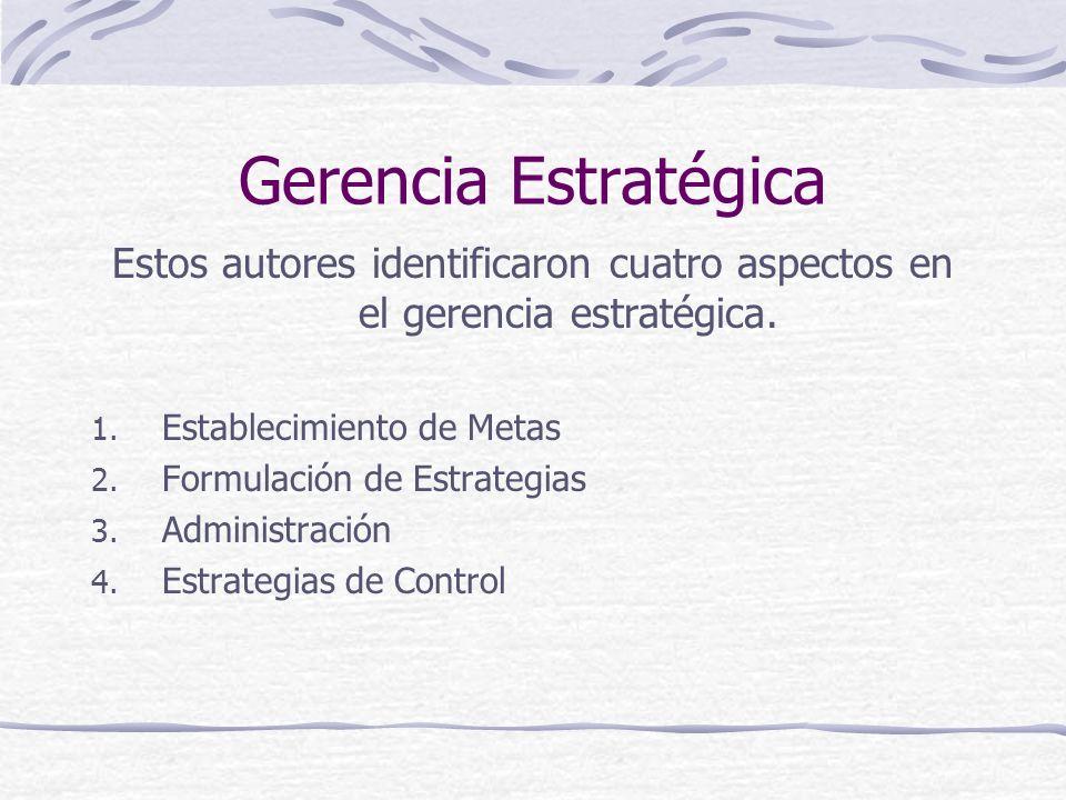 Gerencia Estratégica Estos autores identificaron cuatro aspectos en el gerencia estratégica. Establecimiento de Metas.