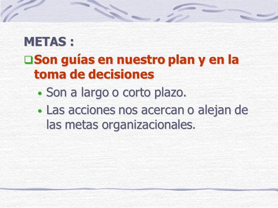 METAS : Son guías en nuestro plan y en la toma de decisiones. Son a largo o corto plazo.