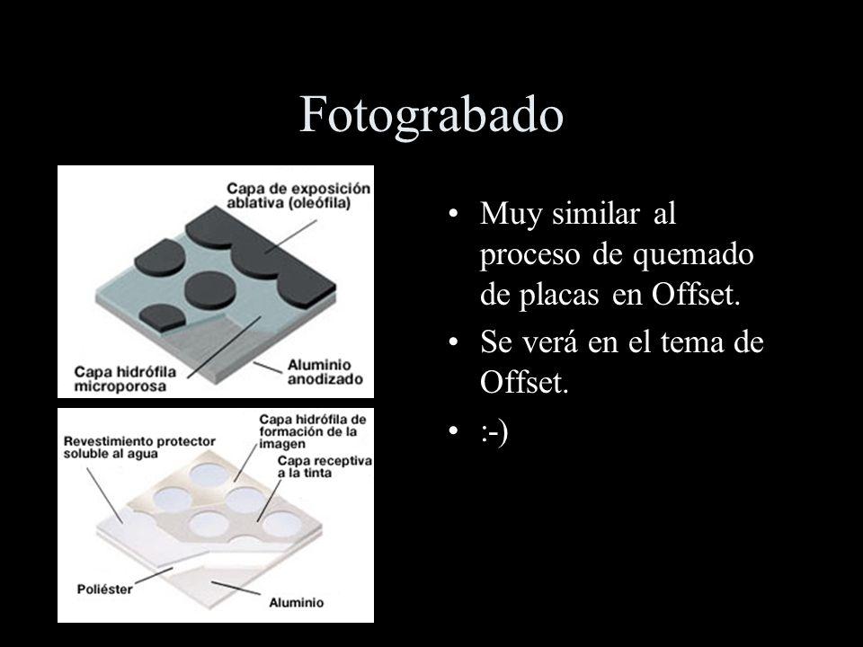 Fotograbado Muy similar al proceso de quemado de placas en Offset.