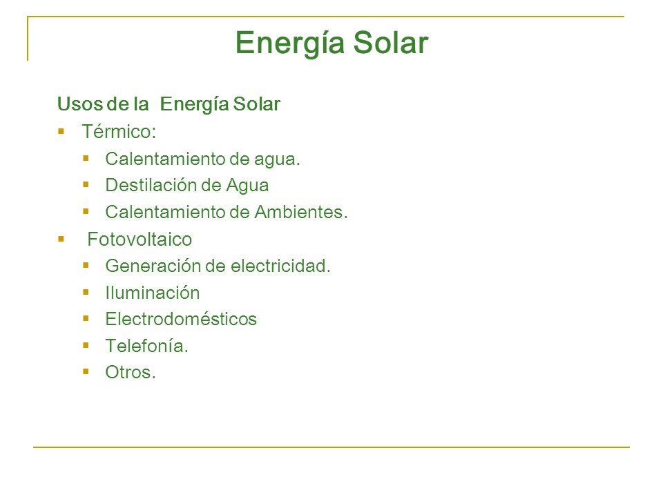 Energía Solar Usos de la Energía Solar Térmico: Fotovoltaico