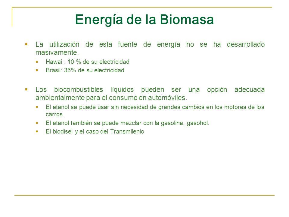 Energía de la Biomasa La utilización de esta fuente de energía no se ha desarrollado masivamente. Hawai : 10 % de su electricidad.