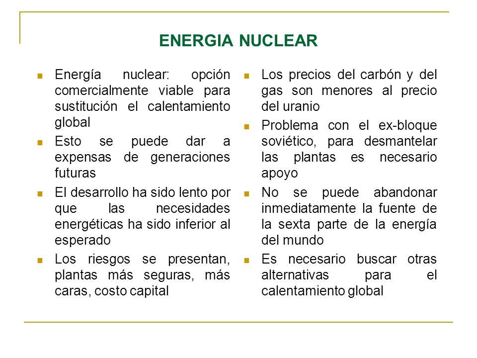 ENERGIA NUCLEAREnergía nuclear: opción comercialmente viable para sustitución el calentamiento global.