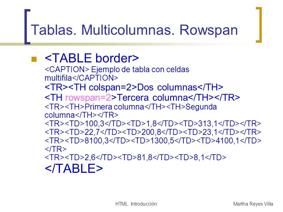 Tablas. Multicolumnas. Rowspan