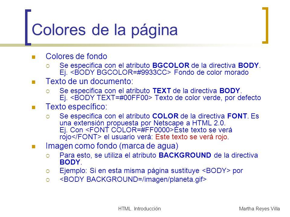Colores de la página Colores de fondo Texto de un documento: