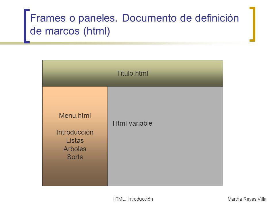 Frames o paneles. Documento de definición de marcos (html)