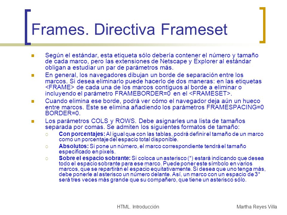 Frames. Directiva Frameset