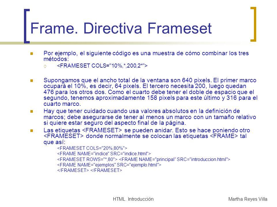 Frame. Directiva Frameset