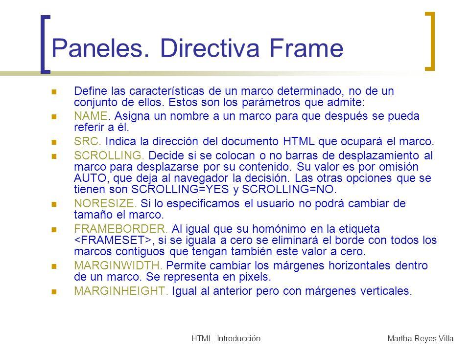 Paneles. Directiva Frame