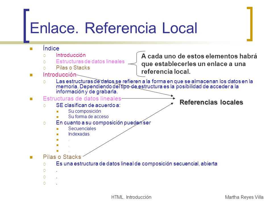 Enlace. Referencia Local