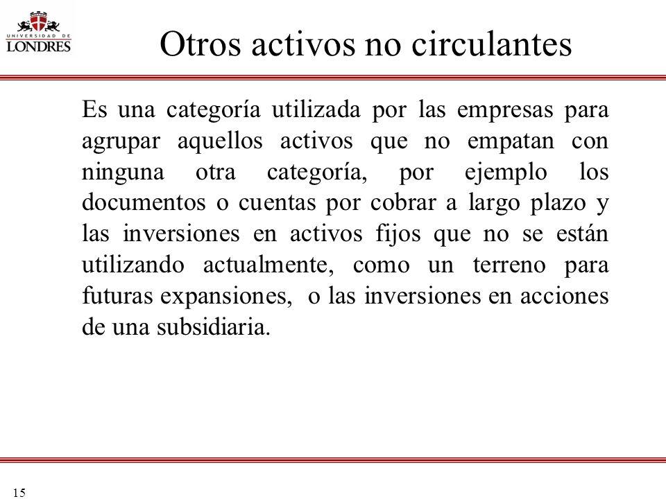 Otros activos no circulantes