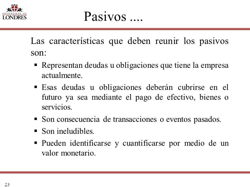Pasivos .... Las características que deben reunir los pasivos son: