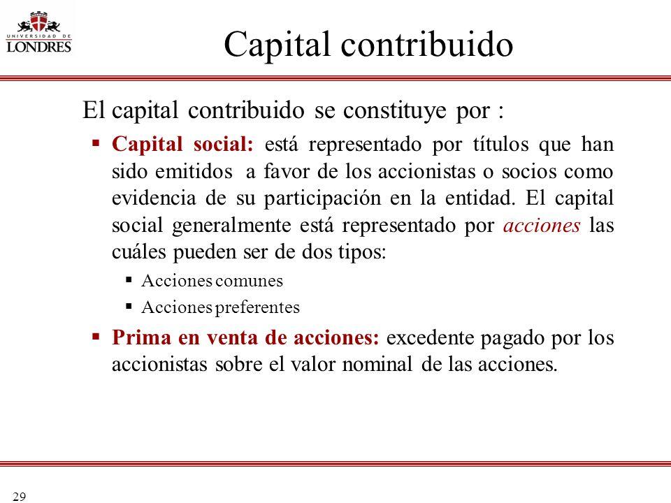 Capital contribuido El capital contribuido se constituye por :