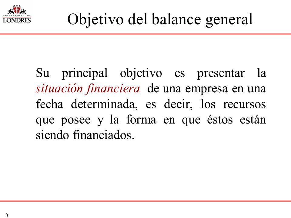 Objetivo del balance general