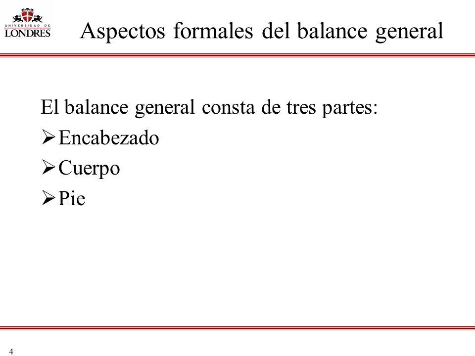 Aspectos formales del balance general