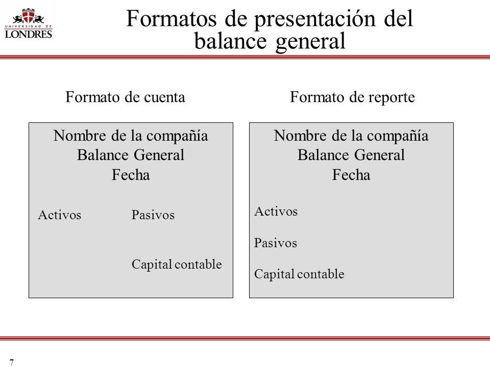 Formatos de presentación del balance general