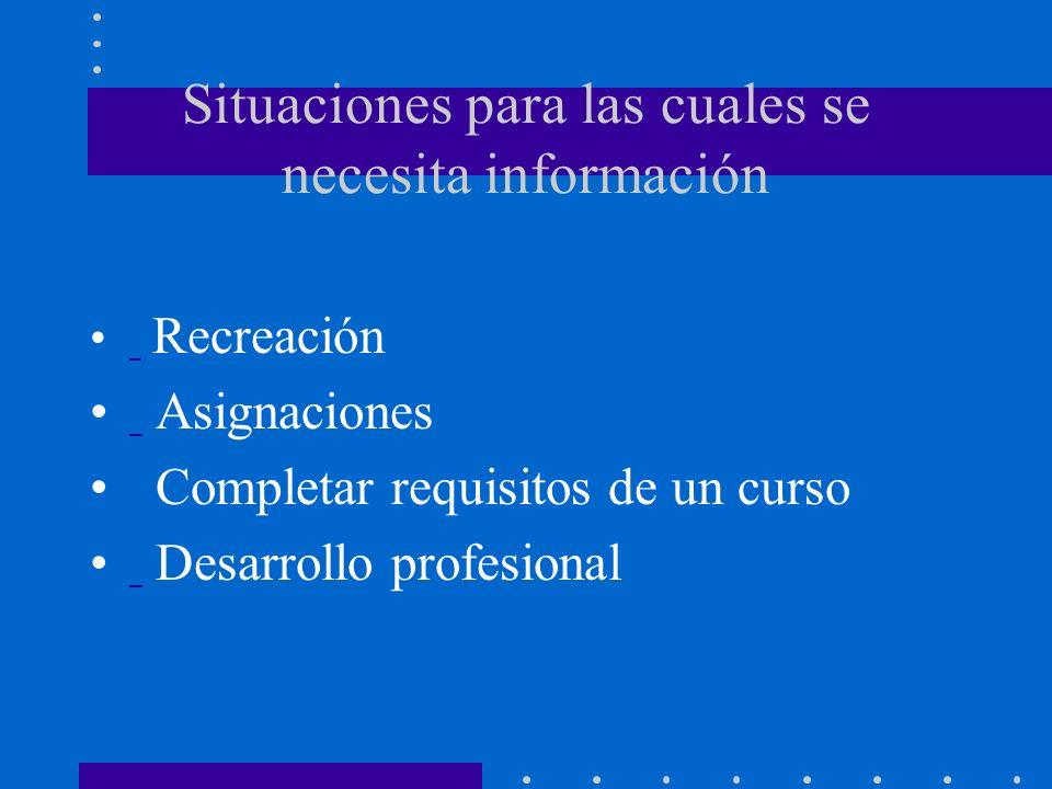 Situaciones para las cuales se necesita información