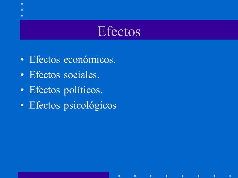 Efectos Efectos económicos. Efectos sociales. Efectos políticos.