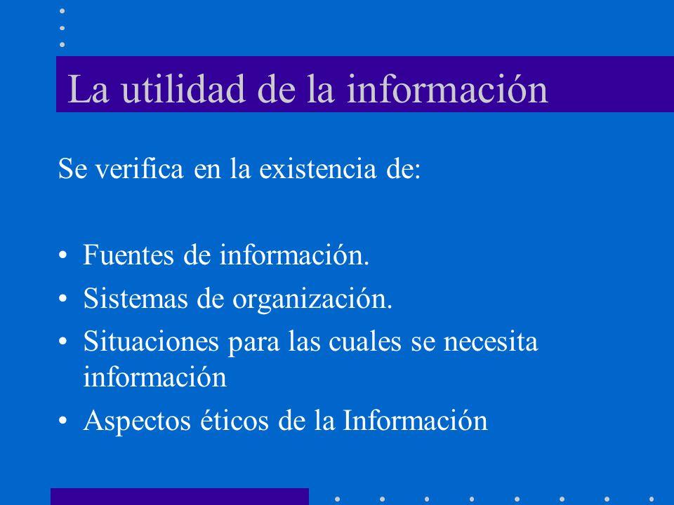 La utilidad de la información