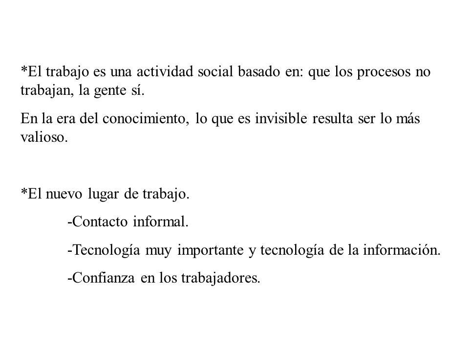 *El trabajo es una actividad social basado en: que los procesos no trabajan, la gente sí.
