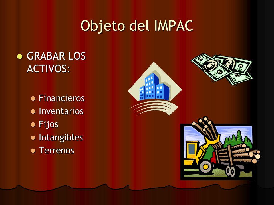 Objeto del IMPAC GRABAR LOS ACTIVOS: Financieros Inventarios Fijos