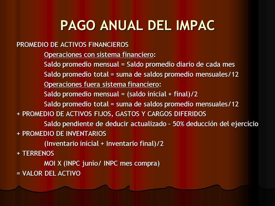PAGO ANUAL DEL IMPAC PROMEDIO DE ACTIVOS FINANCIEROS
