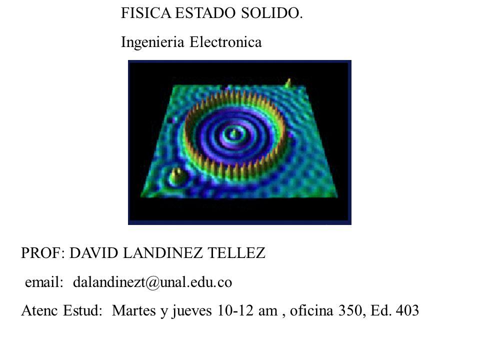 FISICA ESTADO SOLIDO. Ingenieria Electronica. PROF: DAVID LANDINEZ TELLEZ. email: dalandinezt@unal.edu.co.