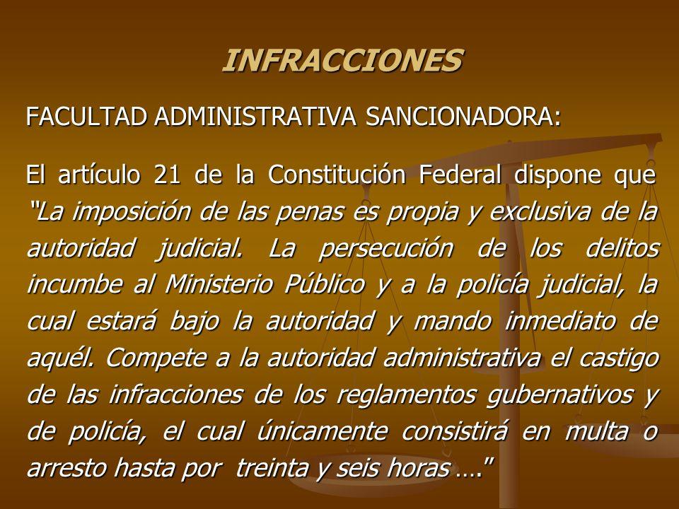 INFRACCIONES FACULTAD ADMINISTRATIVA SANCIONADORA: