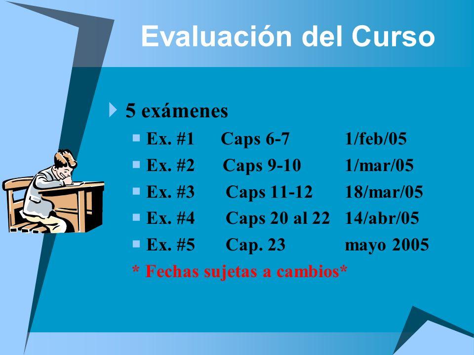 Evaluación del Curso 5 exámenes Ex. #1 Caps 6-7 1/feb/05