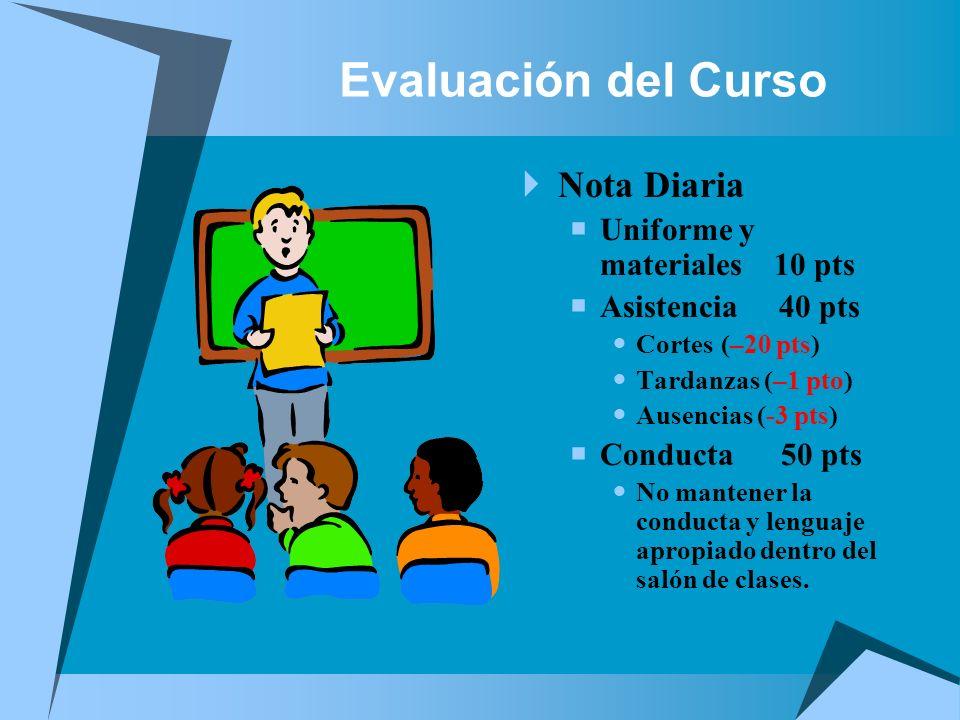 Evaluación del Curso Nota Diaria Uniforme y materiales 10 pts