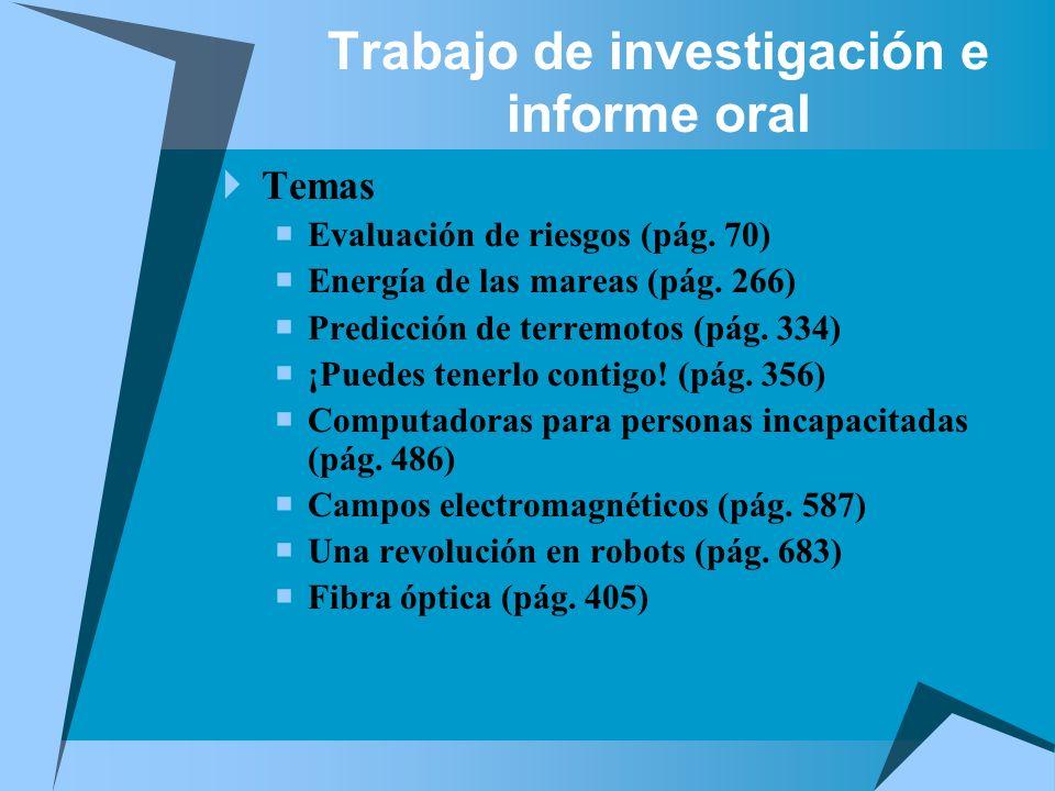 Trabajo de investigación e informe oral