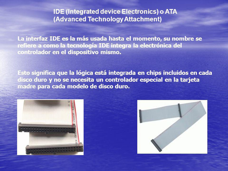 IDE (Integrated device Electronics) o ATA (Advanced Technology Attachment)