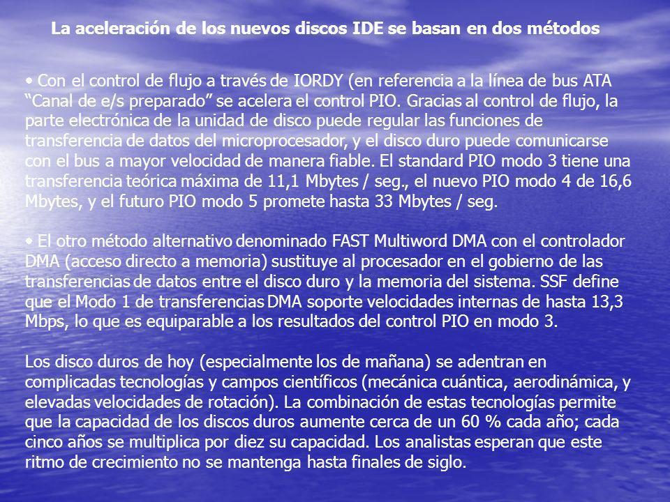 La aceleración de los nuevos discos IDE se basan en dos métodos